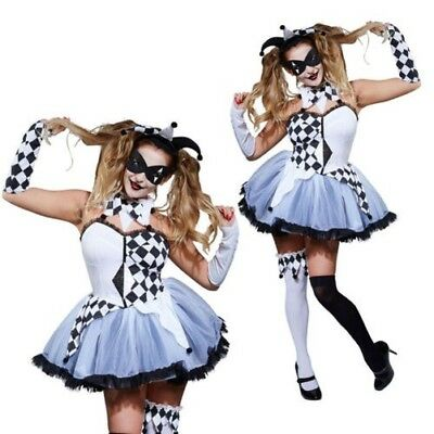 Rubies Jesterella Harlequin Womens Halloween Clown Fancy Dress Costume Outfit  sc 1 st  PicClick : clown fancy dress costume  - Germanpascual.Com