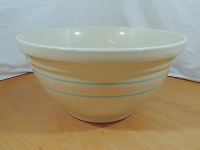 """McCoy Large 14"""" Ovenware Pottery Mixing Bowl Cream Blue Pink Bands"""