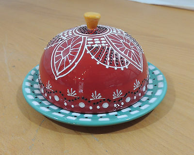 Anthropologie Ceramic Butter Dish Red Dome Green Plate