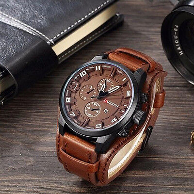 Waterproof Curren Steel Mens Date Military Leather Analog Quartz Wrist Watch