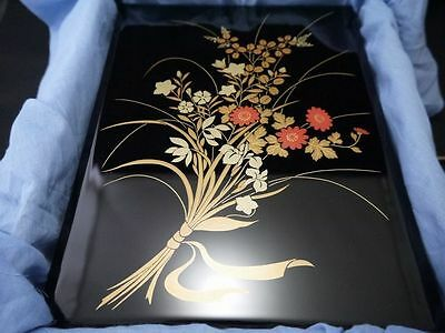 Japan ZOHIKO Brand Traditional Lacquer Flowers maki-e Wooden Box TEBUNKO (M14)