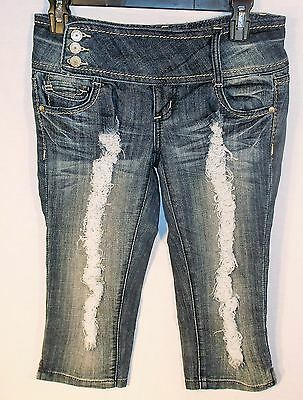 Almost Famous JR's size 5 Distressed Blue Jean Long SHORTS/Crops