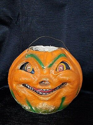 Vintage 1930 Paper Mache Jack O Lantern Pumpkin Spooky Eyes All Original Handle