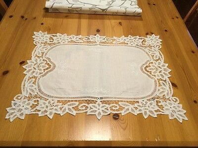 Cotton & Lace Antique Tray or Supper Cloth