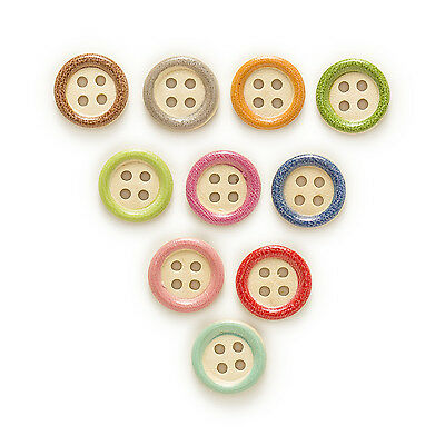 50pcs 4 Hole Round Mixed Wood Buttons Home Sewing Scrapbooking Decor 15mm