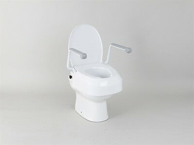 Patterson Medical Raised Toilet Seat with Armrests, Lid & Adjustable Height