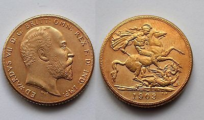 1903 24k GOLD PLATED King Edward VII Full Sovereign United Kingdom - COPY COIN
