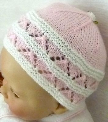 Pretty In Pink & White Hand Knitted Beanie / Hat For Newborn Baby / Reborn Doll