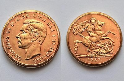 1937 24k GOLD PLATED King George VI Full Sovereign United Kingdom - COPY COIN