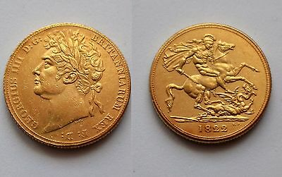 1822 24k GOLD PLATED King George IV Full Sovereign UK NOVELTY Copy COIN