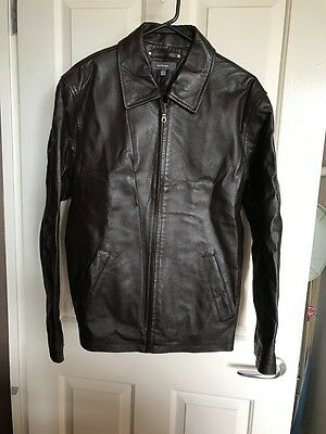 Men's Brown Leather Jacket Size S