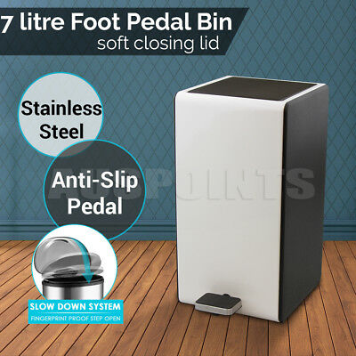 7L Stainless Steel Softclose Pedal Bin Rubbish Bins Can Waste Home Kitchen Trash