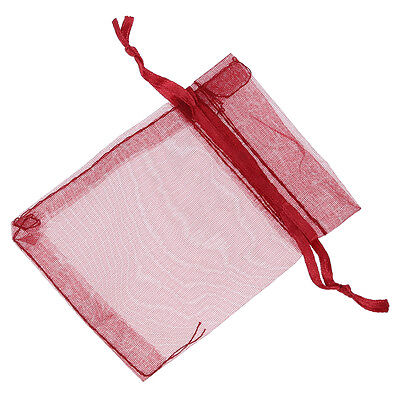 100 Organza Bags Wedding Favour Bags Candy Pouches(Wine Red)  WW