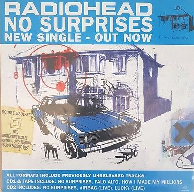 """Radiohead No Surprises New Single Out Now Promo Shop Display Poster 12"""""""