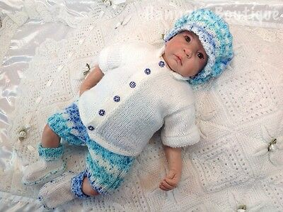 Hannahs Boutique Sale Hand Knitted 4Pc Outfit For 0-3Mth Baby Or Reborn 20-22""
