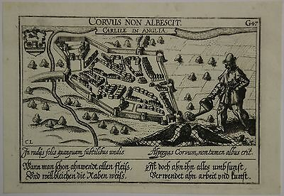 Carlisle Cumbria England 1638 Meissner Unusual Antique Copper Engraved City View