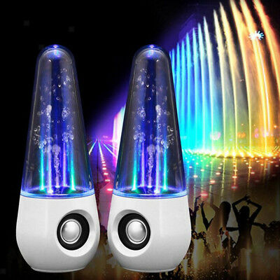 LED Dancing Water Show Music Fountain Light Speaker for Phone Computer White
