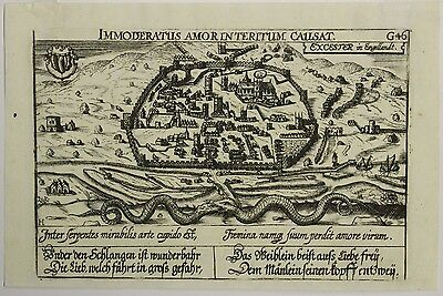 Exeter England 1638 Meissner Unusual Antique Original Copper Engraved City View