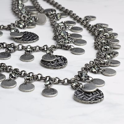 BOHEMIAN COINS NECKLACE in Antique Silver with Quartz, Boho, Gypsy Jewellery