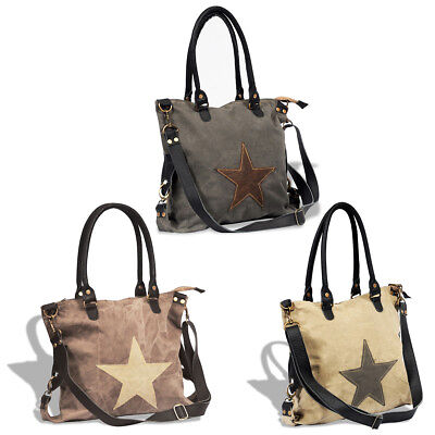 Large Canvas Real Leather Tote Shopper Travel Shoulder Bag w/ Star Multi Colours