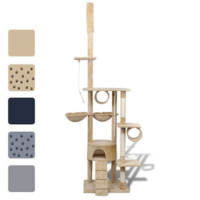 3 Colours Cat Tree Scratching Post 220-240cm Scratcher Condo with/no Pawprints