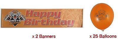 West Tigers NRL Party Pack 25 Balloons & 2 Happy Birthday Banners!