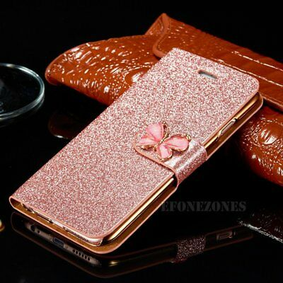 Luxury Magnetic Bling Glitter PU Leather Flip Case Wallet Cover For Apple iPhone