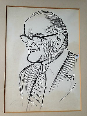 original drawing pen, ink caricature, signed by RALPH SALLON (1899-1999) c.50 s