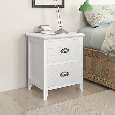 2pcs Wooden Bedside Table Cabinet Lamp Nightstand with 2 Storage Drawers White