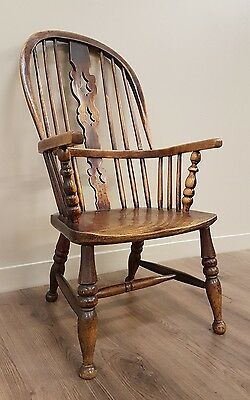 Antique Victorian Elm and ash style farm house kitchen fireside windsor armchair
