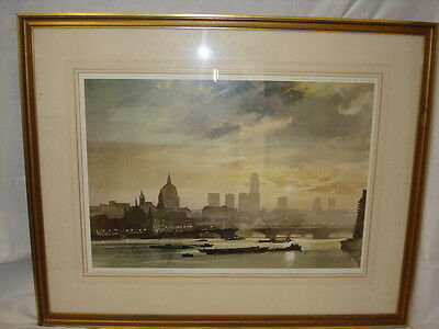 Roland Hilder Signed Ltd Edition Framed Print Londonj Skyline River Thames