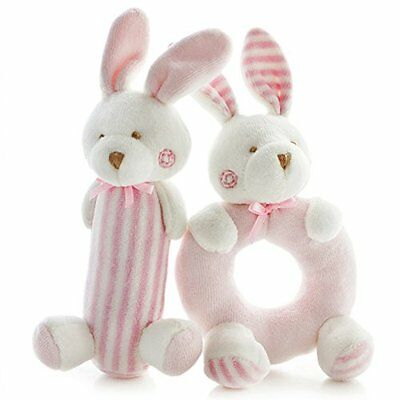 SHILOH Baby Rattle Plush Soft Toys Newborn Gift Crib toy 7.2in3.2in Pink Rabbits