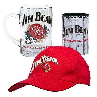 Jim Beam Gift Pack Set With Cap, Can Cooler & Glass Stein!