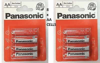 8 x AA Genuine PANASONIC Zinc Carbon Batteries - New R6 1.5V