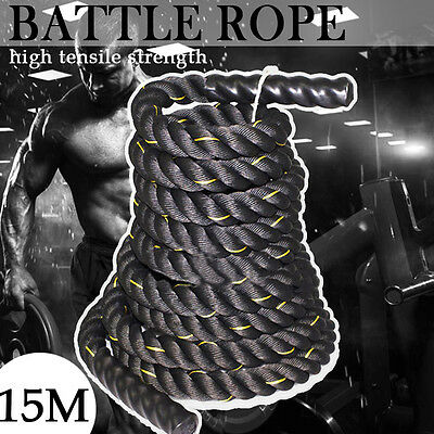15M 38MM heavy Home Gym Battle Power Rope Exercise Workout Strength Bootcamp