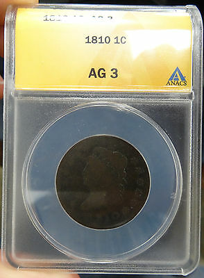 1810 Classic Head Large Cent ANACS AG 3 - free shipping