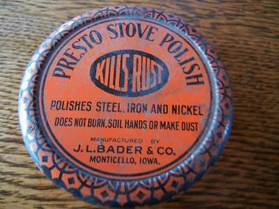 Vintage Presto Stove Polish Round Advertising Tin
