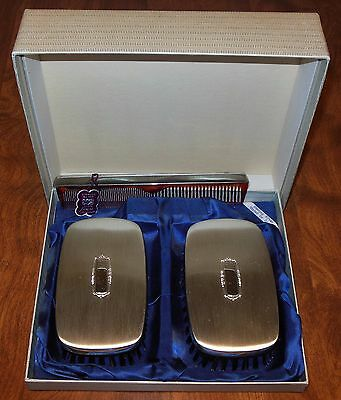 Antique Sterling Silver Brush and Comb Set by Saat in Original Box