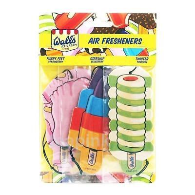 ** 2 X Walls Ice Cream 3 Pack Car Air Freshener Twister Starship Feet Tropical