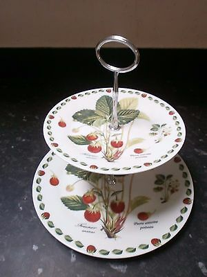 Lovely 2 Tier China Cake Stand, Pierre Antoine Poiteau, Pineapple Strawberries