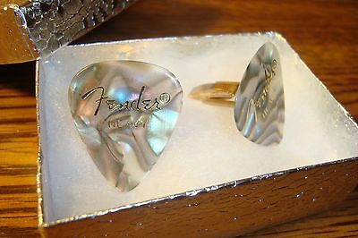 Fender 351 Heavy Multi-Color Abalone Guitar Pick Cuff links Gold Plated (2)