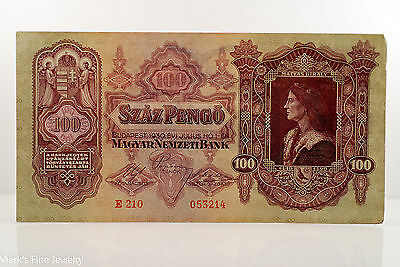 Szaz Pengo 100 Budapest Hungary Bank Note King Matthias Corvinas Currency Bill