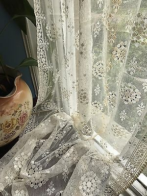 "Antique c1930s Curtain Ecru Beige cotton lace panel 36"" X 68"" Soiled"