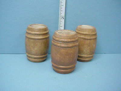 Dollhouse Miniature medium Barrels/Kegs (3) Wooden Handcrafted 1/12th Scale