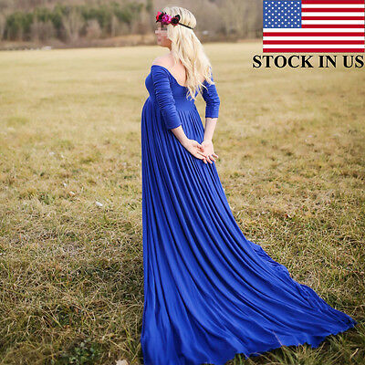 Chiffon Gown Maternity Maxi Photography Wedding Party Dresses Multi STOCK IN US
