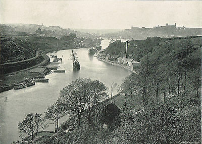 Whitby From Larpool Yorkshire 1900 Single Sided Antique Print Picture #175