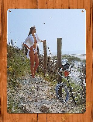 "TIN SIGN ""Stihl Calender Girl Fence"" Vintage Pin Up Rustic Wall Decor"