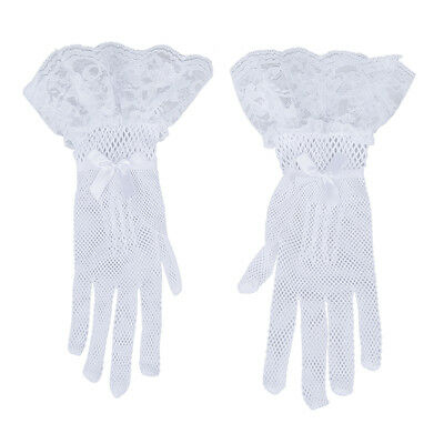 Women White Finger Lace Bridal Cocktail Prom Short Gloves WD