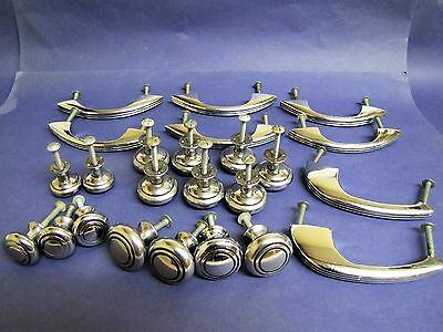 Vintage MID-CENTURY DRAWER PULL KNOB Chrome & Black Concentric Circles 24 PIECES