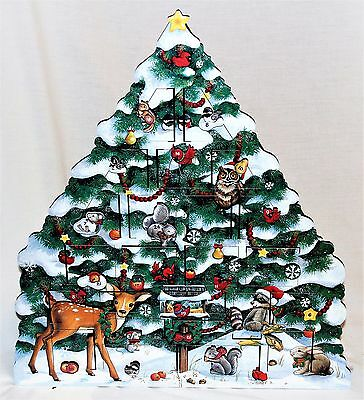 Byers Choice Wooden Snow Tree Advent Calendar  - New